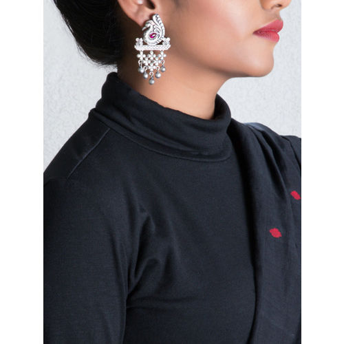 Rubans Silver-Plated & Handcrafted Peacock Shaped Drop Earrings