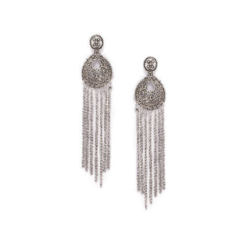 Rubans Silver-Plated & White Handcrafted Classic Drop Earrings