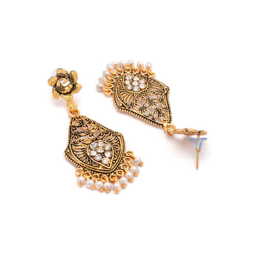 Rubans Gold-Toned & White Contemporary Drop Earrings