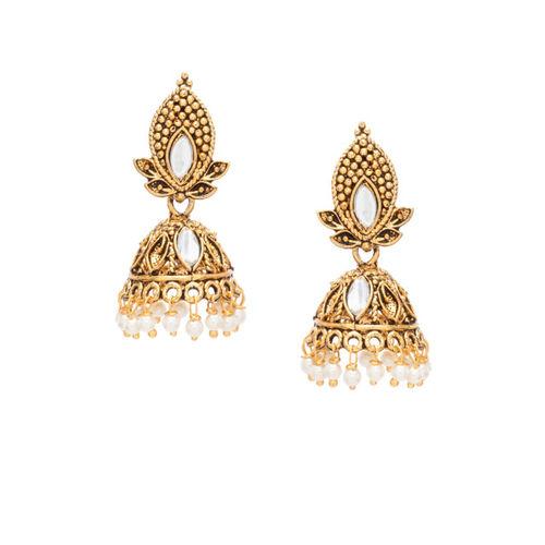 Rubans Gold-Toned & White Dome Shaped Jhumkas