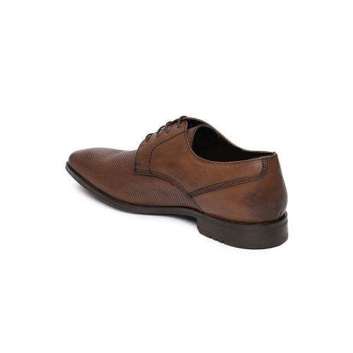 Park Avenue Men Brown Textured Formal Leather Derbys