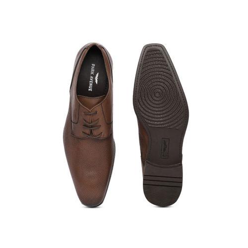 Park Avenue Men Brown Textured Formal Leather Derbys