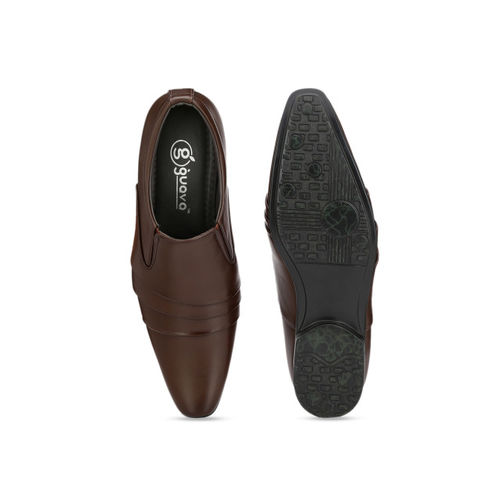 Guava Men Brown Synthetic Leather Formal Slip-Ons