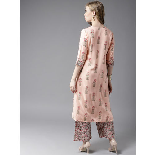 HERE&NOW Women Peach-Coloured & Green Printed Kurta with Palazzos