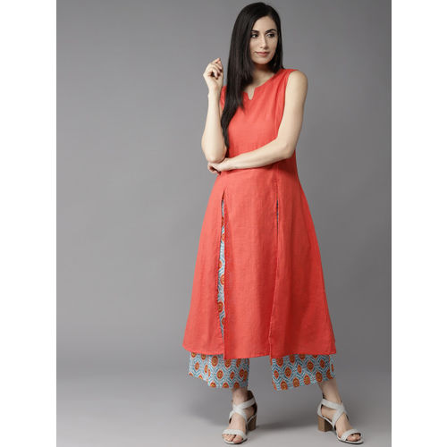 HERE&NOW Women Peach-Coloured & Blue Solid Kurta with Palazzos