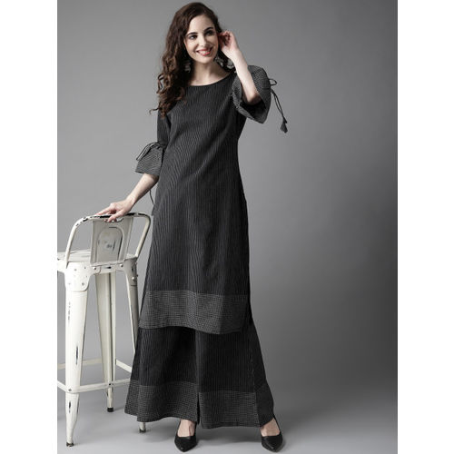 HERE&NOW Women Black & White Striped Kurta with Palazzos