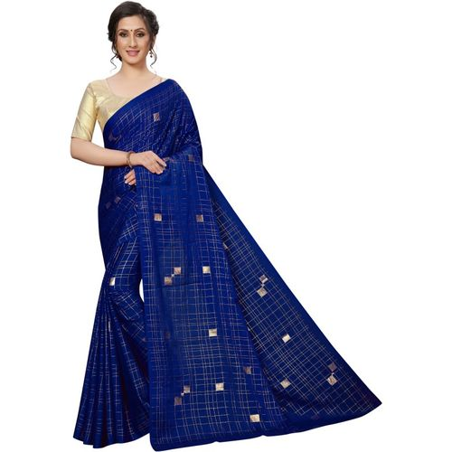 Yashika Blue Self Design Fashion Crepe Saree()