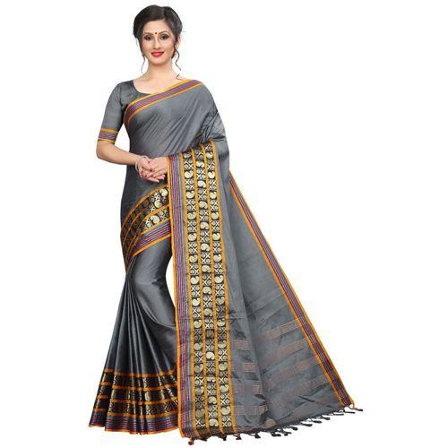 Yashika Woven Fashion Cotton Silk Saree(Grey)