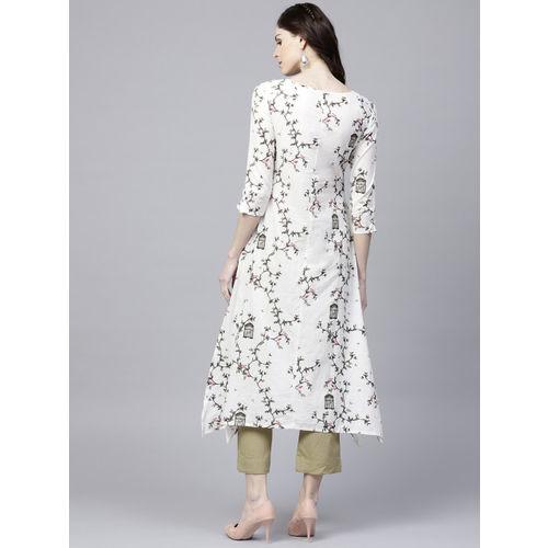 Ishin Women White & Olive Green Printed Kurta with Palazzos