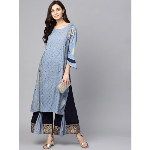 Ishin Women Blue & Golden Printed Kurta with Palazzos