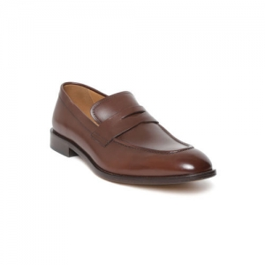 Geox Men Brown Leather Formal Slip-Ons