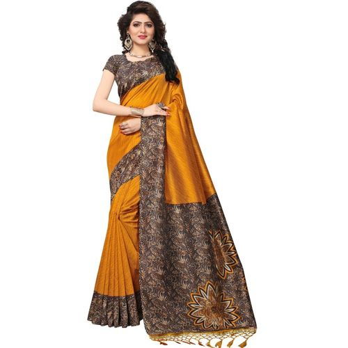 Yashika Mustard Printed Fashion Art Silk, Cotton Blend, Poly Art Silk, Poly Silk, Polycotton Saree
