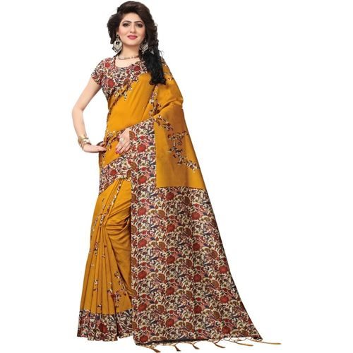 Yashika Printed Mysore Art Silk, Cotton Blend, Poly Art Silk, Poly Silk, Polycotton, Silk Blend, Tissue Saree(Mustard)