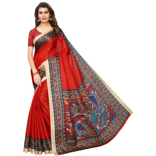 Yashika Red Printed Kalamkari Art Silk, Cotton Blend, Poly Silk, Polycotton, Silk Blend Saree