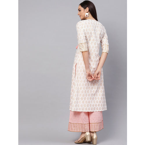 Idalia Women White & Pink Printed Kurta with Palazzos