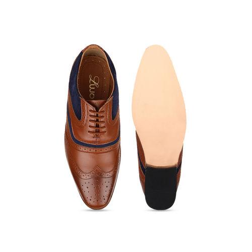 LUJO Men Tan Brown Handmade Leather Brogues