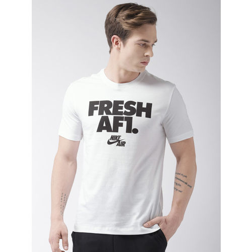 Nike Men White Printed AS M NSW AF1 2 FS Round Neck T-shirt