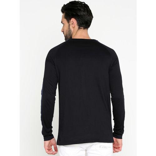 Maniac Men's Solid Full Sleeves Raglan Neck Black Cotton T-shirt