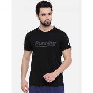 ASICS Men Black Printed Graphic Ss Round Neck Running T-shirt