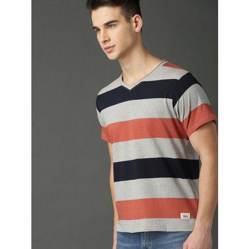 Roadster Men Grey Melange & Rust Orange Striped V-Neck T-shirt