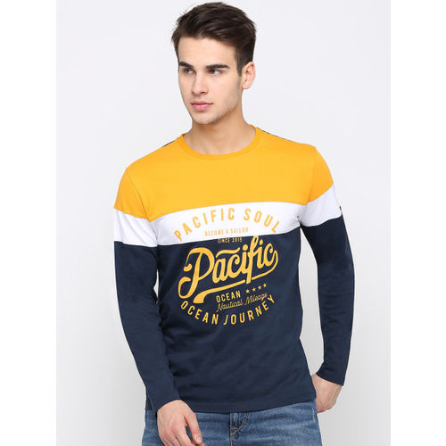 Maniac Men Yellow & Navy Blue Printed Round Neck T-shirt