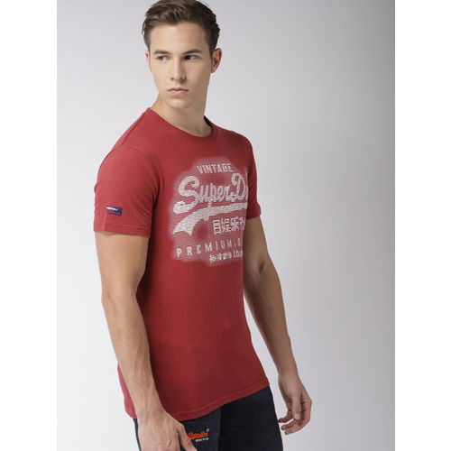Superdry Men Rust Red Embroidered Round Neck T-shirt