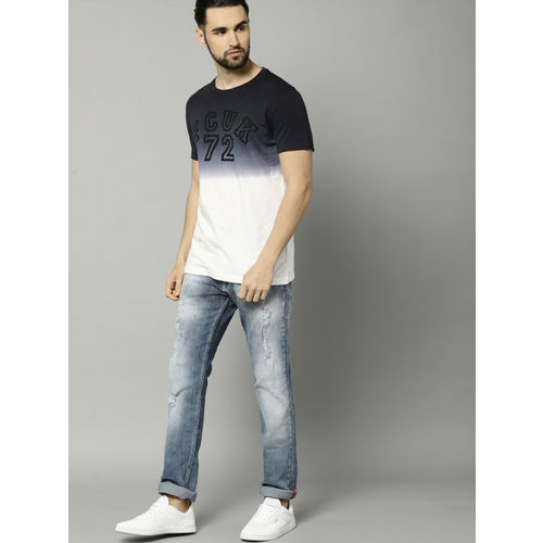 French Connection Men Black & White Ombre-Dyed Round Neck T-shirt