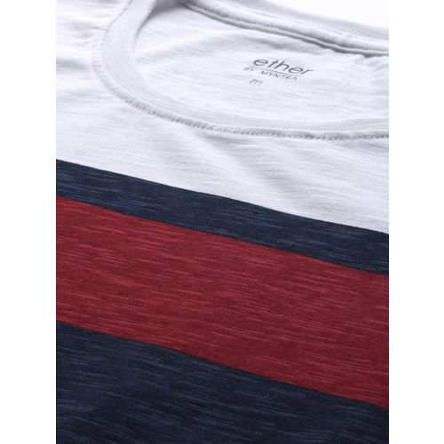 ether Men White & Red Striped T-shirt