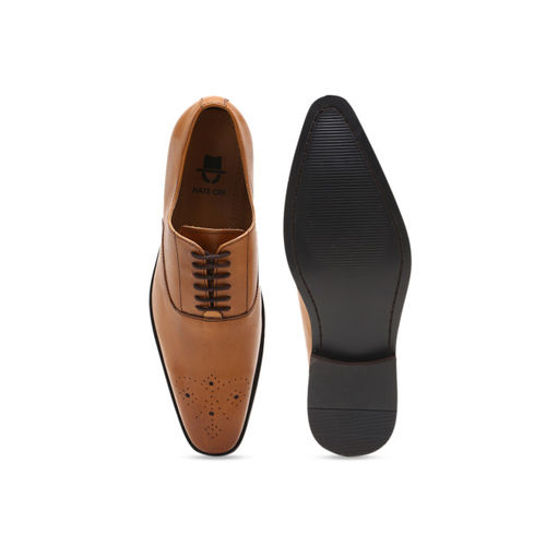 HATS OFF ACCESSORIES Men Tan Brown Leather Formal Oxfords