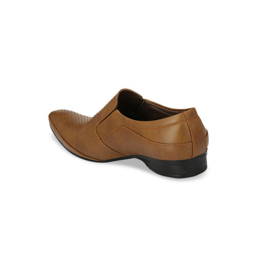Ferraiolo Men Tan Brown Textured Semiformal Slip-Ons