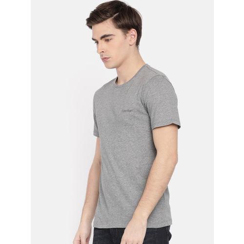 Calvin Klein Men Grey Solid Round Neck T-shirt