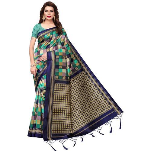 Yashika Printed Mysore Art Silk, Cotton Blend, Poly Art Silk, Poly Silk, Polycotton, Silk Blend, Tissue Saree(Beige)