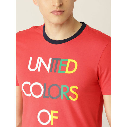 United Colors of Benetton Men Coral Red Printed Round Neck T-shirt