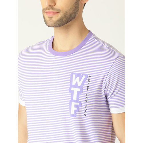 United Colors of Benetton Men Purple & White Striped Round Neck T-shirt