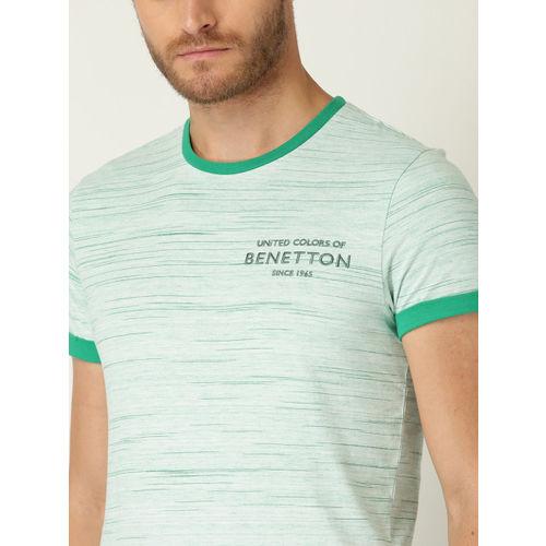 United Colors of Benetton Men White Self Design Round Neck T-shirt