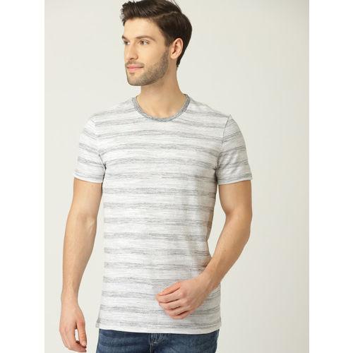 United Colors of Benetton Men White & Grey Melange Striped Round Neck T-shirt