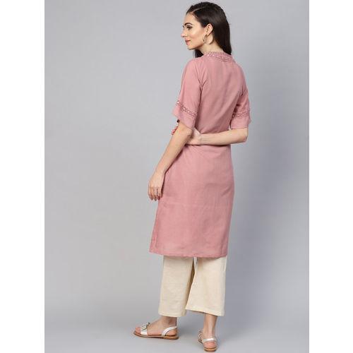 Inddus Women Pink & Beige Yoke Design Kurta with Palazzos