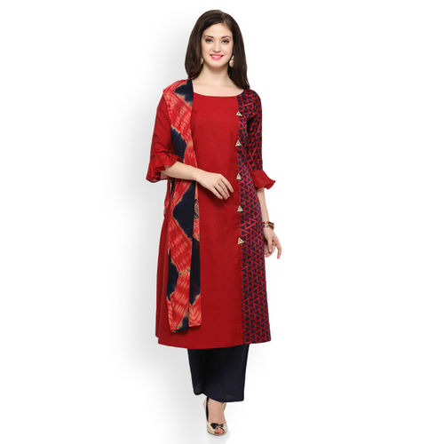 Inddus Women Red & Blue Printed Kurta with Palazzos & Dupatta