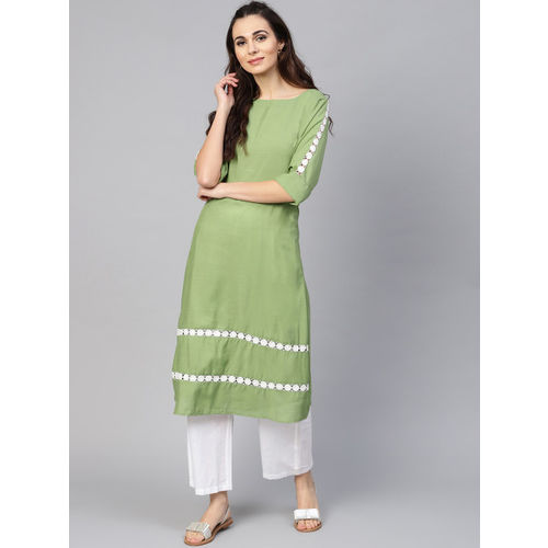 Inddus Women Green & White Solid Kurta with Palazzos