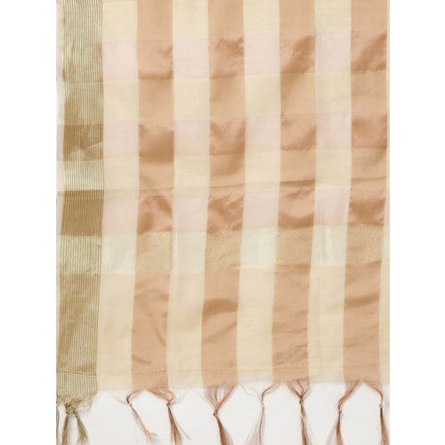 Inddus Women Maroon & Cream-Coloured Yoke Design Kurti with Palazzos & Dupatta