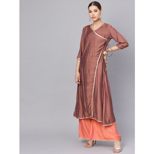 Inddus Women Brown & Coral Pink Solid Kurta with Palazzos & Dupatta