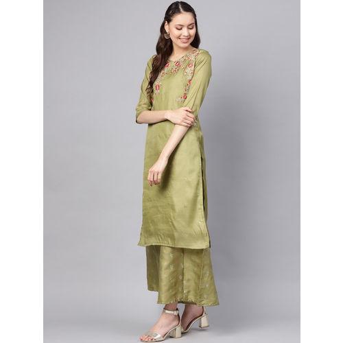 Inddus Women Green Embroidered Kurta with Palazzos & Dupatta