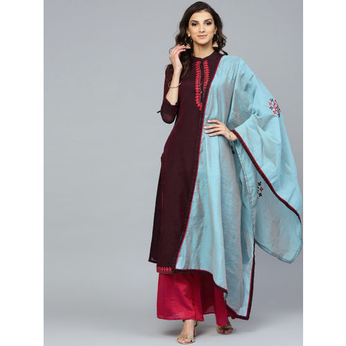Inddus Women Burgundy & Magenta Yoke Design Kurta with Palazzos & Dupatta