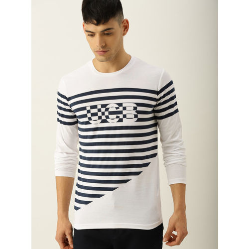 United Colors of Benetton Men White & Navy Striped Round Neck T-shirt