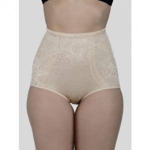Laceandme Women Cream-Coloured Patterned Tummy Tucker 4352