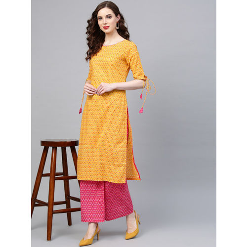 Indo Era Yellow & Pink Pure Cotton Printed Kurta with Palazzos