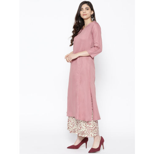 Indo Era Women Pink & Off-White Solid Kurta with Palazzos