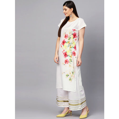 Ishin Women White & Pink Printed Kurta with Palazzos