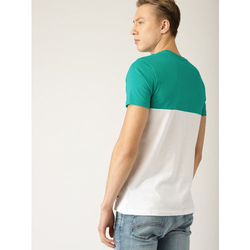 United Colors of Benetton Men Green & White Colourblocked Round Neck T-shirt
