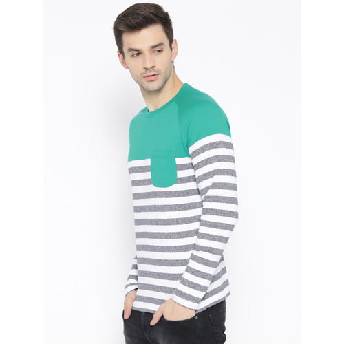 United Colors of Benetton Men Green & White Striped Round Neck T-shirt